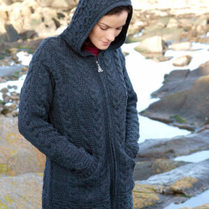 Hooded Coat with Celtic Knot Zip