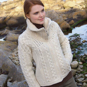 Double Collar Zip Aran Cardigan
