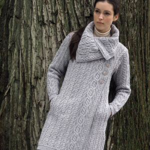 Aran Chunky Collar Coat With Buttons