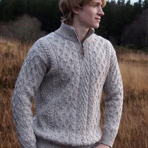 Mens Half Zip Aran Sweater