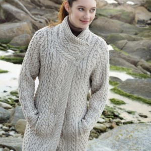 Ladies Three Button Aran Coat