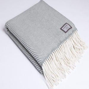 Aqua Giant Herringbone Blanket