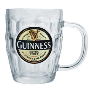 Guinness Label Dimpled Glass Tankard