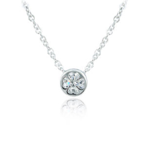 Silver Plated Round Crystal Clover Pendant