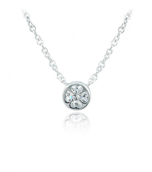 Silver Plated Round Crystal Clover Pendant 78352