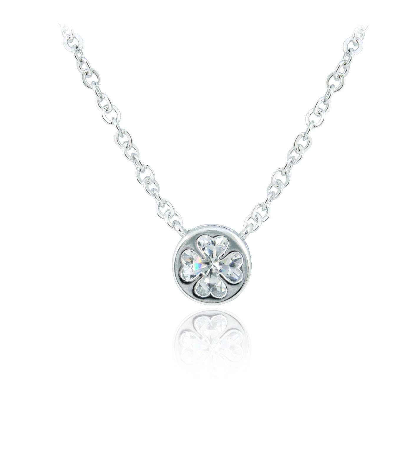 Silver plated round crystal clover pendant irish jewellery silver plated round crystal clover pendant 78352 mozeypictures Gallery