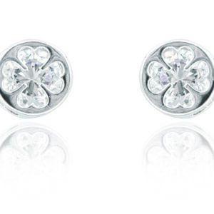 Silver Plated Round Clover Earrings