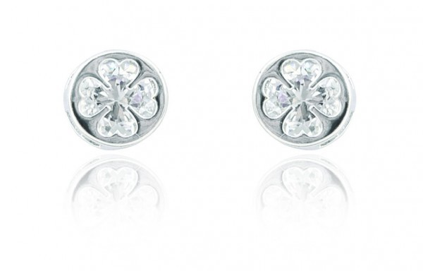 Silver Plated Round Clover Earrings 78369