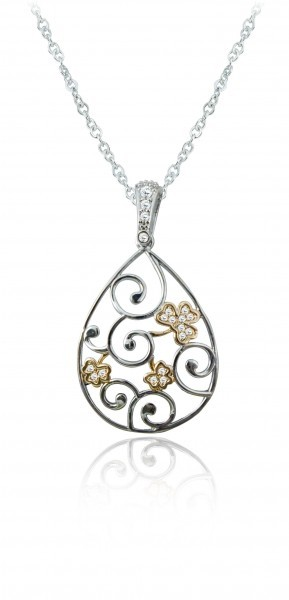 Silver Plated Tier Drop Swirl Shamrock Pendant 78802