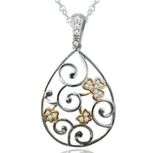 Silver Plated Tier Drop Swirl Shamrock Pendant