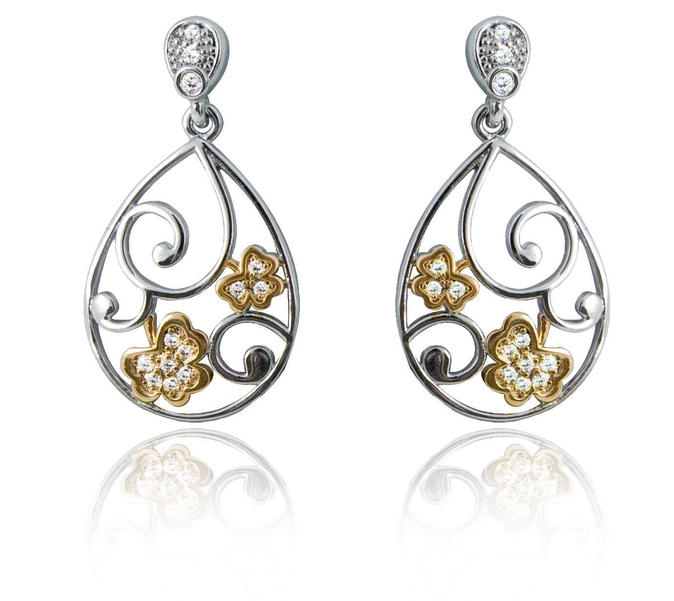 Silver Plated Tier Drop Swirl Shamrock Earrings 78819