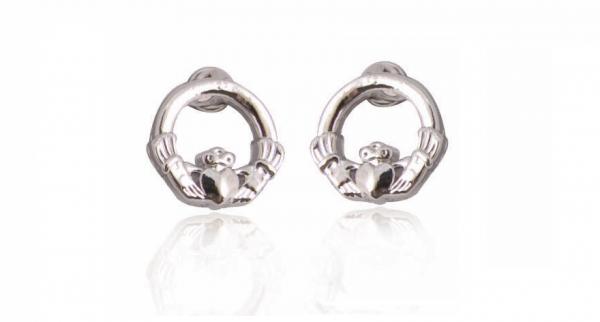 Silver Plated Claddagh Earrings 79236