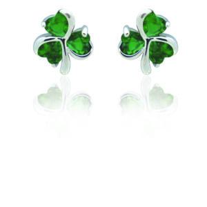 Silver Plated Green Shamrock Earrings