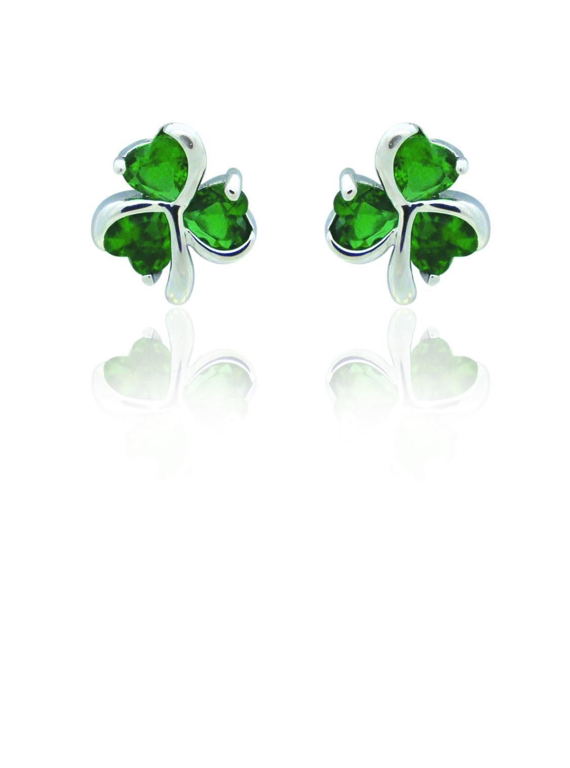 Silver Plated Green Shamrock Earrings 86616