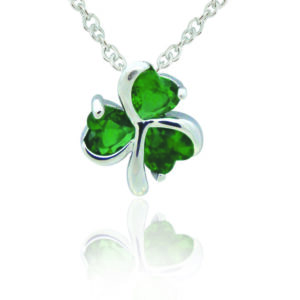 Silver Plated Green Shamrock Pendant
