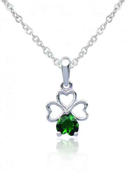 Silver Plated Green Clover Pendant 91108