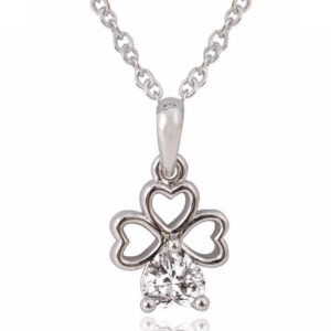 Silver Plated Crystal Clover Pendant