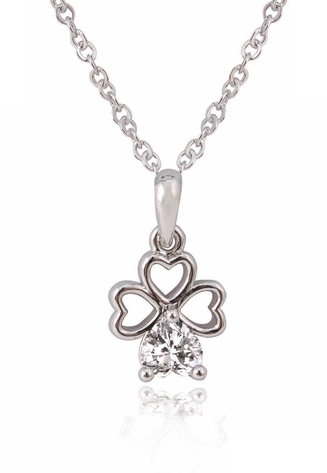 Silver Plated Crystal Clover Pendant 78598