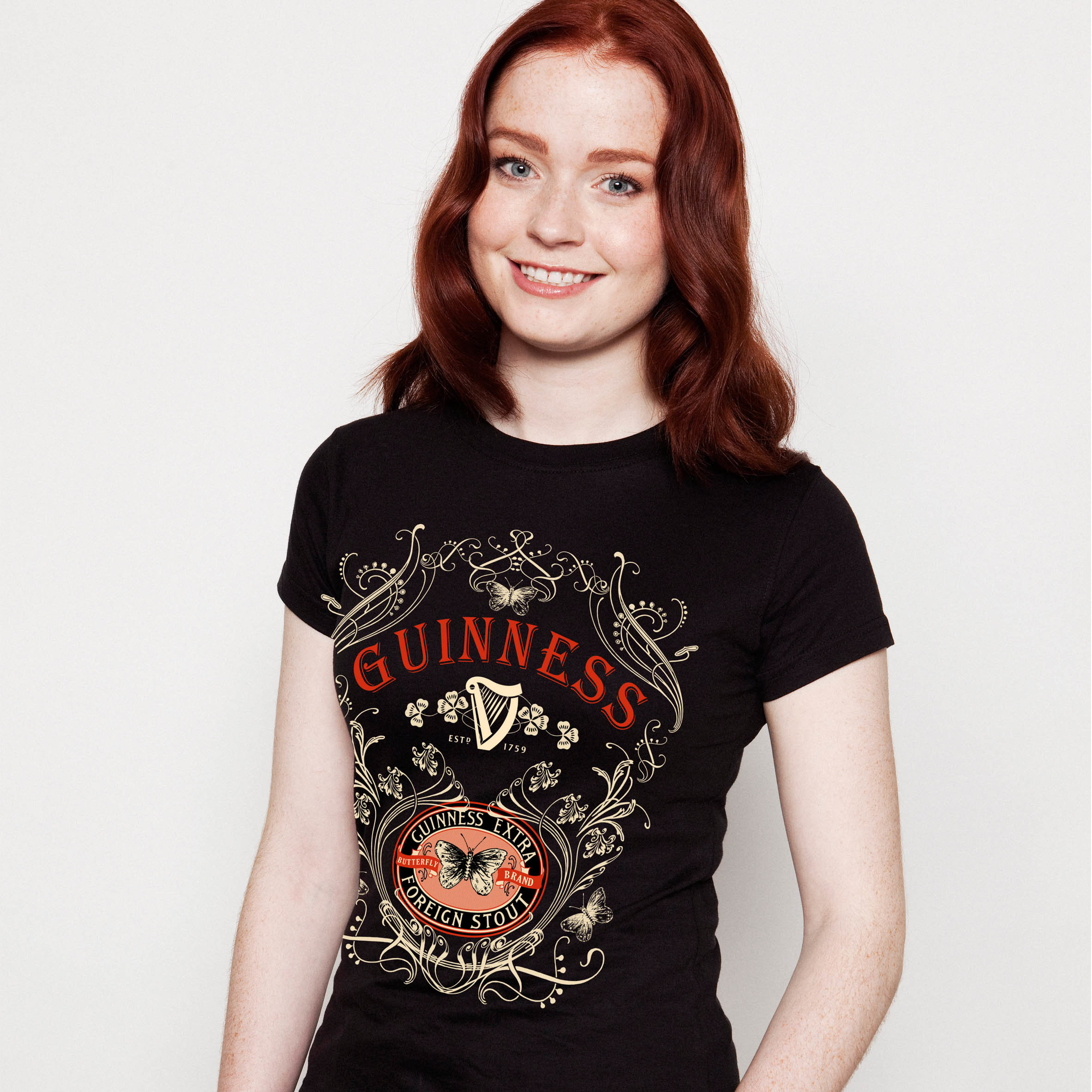 Guinness Butterfly Ladies Tee Shirt | Black