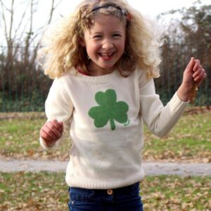 Kids Irish Shamrock Knitted Sweater | Cream/Navy