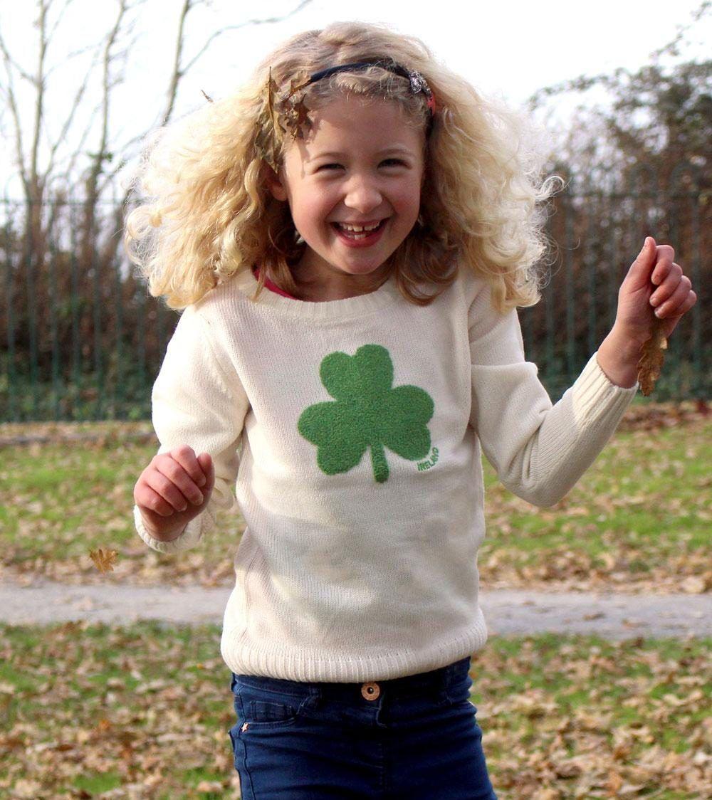 Kids Irish Shamrock Knitted Sweater   Cream