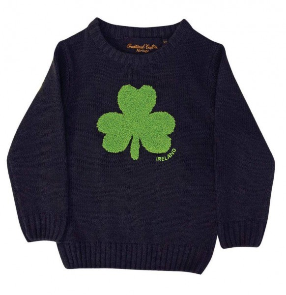 Kids Irish Shamrock Knitted Sweater | Navy