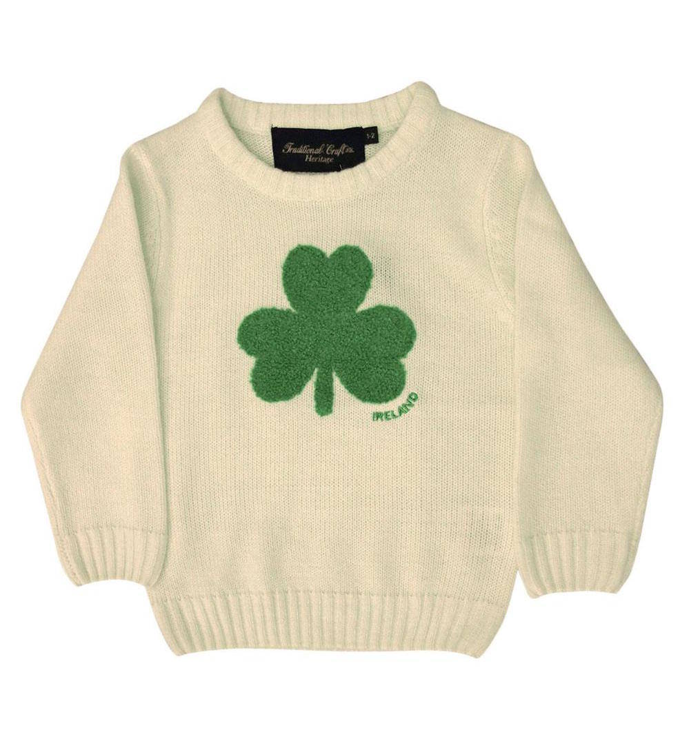 Knitting Kids Sweater : Kids irish shamrock knitted sweater cream navy ireland