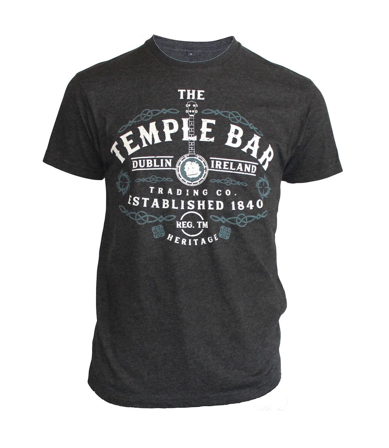 Temple Bar Banjo T Shirt Charcoal Ireland T Shirts