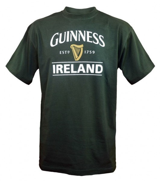 Guinness Ireland Harp Tee Shirt | Bottle Green - Irelands T-Shirts